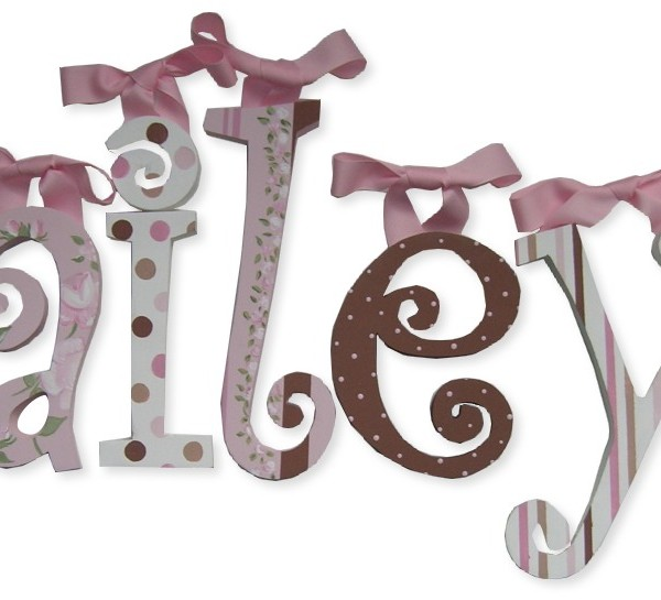 curlz letters pink and chocolate