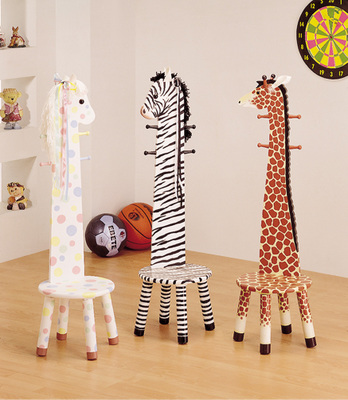 Animal Stool W/Coat Rack U2013 Pony/Zebra/Giraffe Design