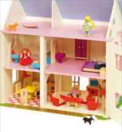 Inside Wood Dollhouse